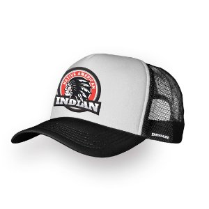 Boné Trucker Indian Preto e Branco