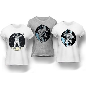 Kit 3 Camisetas Astronautas