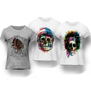 Kit 3 Camisetas Caveiras Coloridas