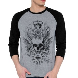 Camiseta Manga Longa Skull Crown Eye