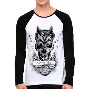 Camiseta Manga Longa Owl and Skull
