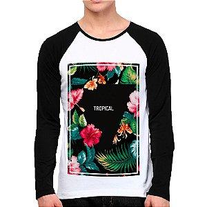 Camiseta Manga Longa Floral