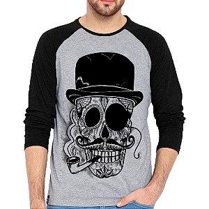 Camiseta Manga Longa Caveira Cartola