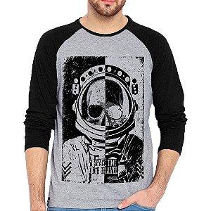 Camiseta Manga Longa Astronauta Skull