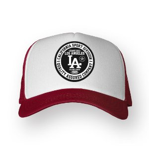 Boné Trucker Los Angeles Bordo com Branco