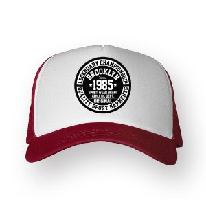 Boné Trucker Brooklyn Bordo com Branco