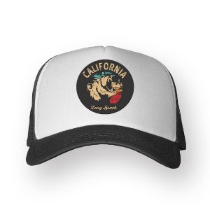 Boné Trucker California Long Beach Chumbo com Branco