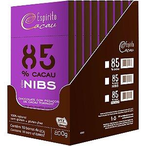 Chocolate Nibs 85% 10un X 80G S/ Lactose Espirito Cacau