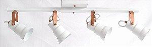 Spot c/ Trilho Canopla Quadrada - 4 Lâmpadas - Branco/Cobre