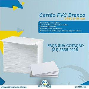 Cartão PVC branco padrão CR80, 0,76mm