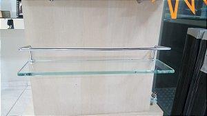 Porta-shampoo reto incolor com aro 10x40