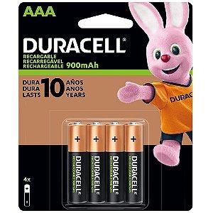 Pilha Recarregável AAA Duracell 900mAh C/4