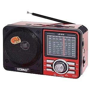 Rádio Lelong LE-610 3 Faixas FM/AM/SW1-7 Vermelho