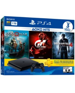 Console Playstation 4 1tb CUH-2115B God of War + Gran Turismo + Uncharted 4