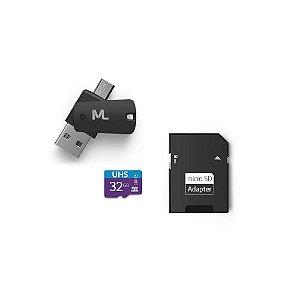Cartão de Memoria + Adaptador USB Multilaser MC151 32gb Classe 10 UHS