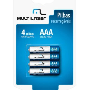 Pilha Multilaser Recarregavel AAA com 4 CB050