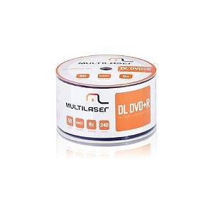 DVD-R Multilaser DV074 Dual Layer Imprimível Com 50 Unidades