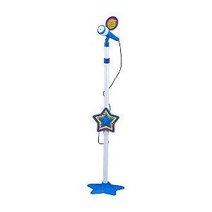 Microfone Infantil C/ Base Rock Star Azul