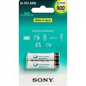 Pilha Sony Recarregavel NHAAAB2GN AAA com 2 Pilhas 900mah