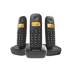 Telefone Intelbras TS2513 ID sem Fio Preto + 2 Ramais