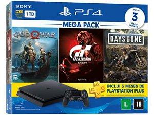 Console PlayStation 4 1Tb Cuh-2214B God of War + Gran Turismo + Days Gone
