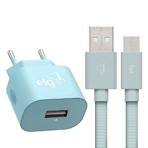 Carregador Micro USB ELG KT510WLBE Azul Turquesa
