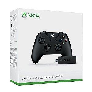 Joystick Microsoft Xbox One Preto com Adaptador para PC