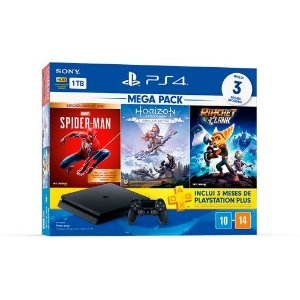 Console PlayStation 4 1Tb Cuh-2214B SpiderMan + Horizon Zero Dawn + Ratchet Clank