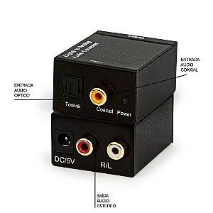 Conversor de Áudio Knup KP-3463 Óptico para RCA