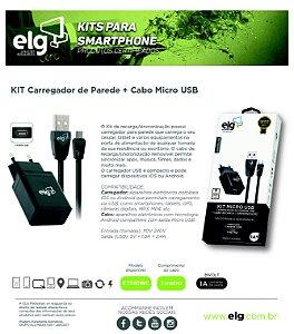 CARREGADOR KT510WC ELG MICRO USB V8 1A PRETO