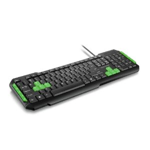 Teclado Gamer com Fio Preto/Verde Multilaser TC201