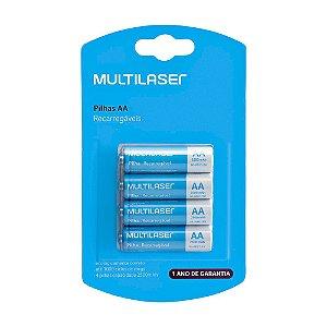 Pilhas Recarregáveis AA Multilaser CB052 com 4