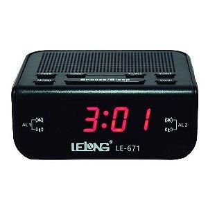Rádio Relógio LE-671 Lelong 2 Faixas AM/FM 3W
