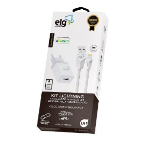 Kit Carregador Lightning ELG 5V KT810WC Branco
