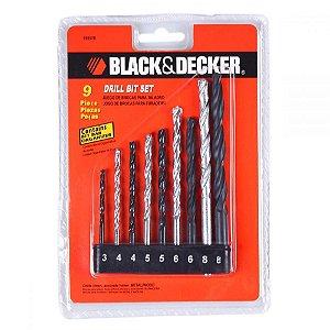Jogo Brocas Aço Rápido Black Decker 9Peças 15557EP