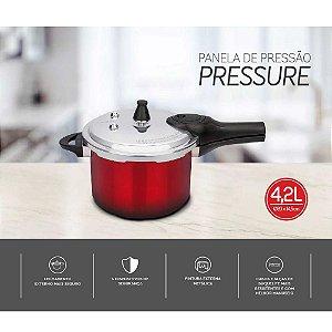 Panela de Pressão Pressure Brinox Vermelha 4.2L