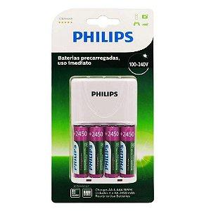 Carregador Pilhas Philips com 4PIlhas AA SCB2445NB