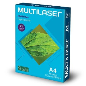 PAPEL SULFITE PE033 MULTILASER A4 C/500 FOLHAS