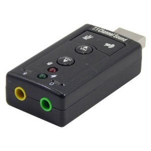 Adaptador Placa Som USB Virtual 7.1 2 Saídas