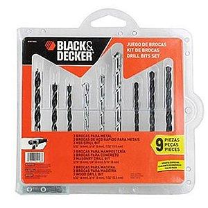 Jogo Brocas Black Decker 9 Peças BD0110CS