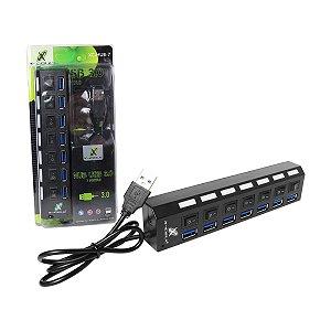 Hub USB X-Cell 7 Portas com Chave XC-HUB-7