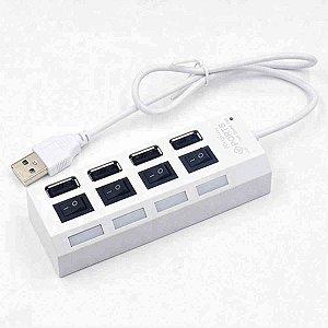 Hub FY 4 Portas Com Chave USB 2.0 480Mbps Branco