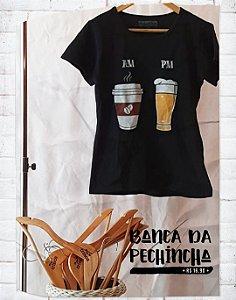 Camiseta Personalizada - AM - PM - Preta - Basic