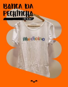 Camiseta Universitária - Medicina - Origami - Branca - Basic