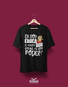 Camisa Pedagogia - Power Teacher - Preta - Premium