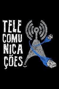 Camisa Universitária Telecomunicações - Fibra Ótica - Preta - Basic