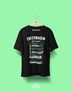 Camisa Universitária Enfermagem - Enfermagem Por Amor - Preta - Basic