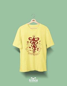 Camisa Universitária Fisioterapia - Ossos do Ofício - Amarela - Premium