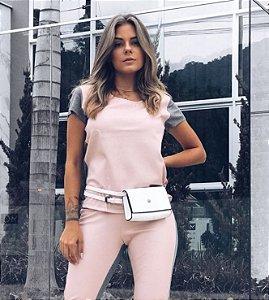 T-Shirt Courinho - Rosa/Mescla