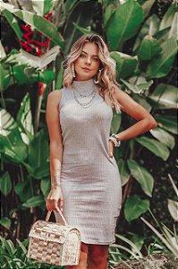Vestido Canelado Zíper Costas - Mescla